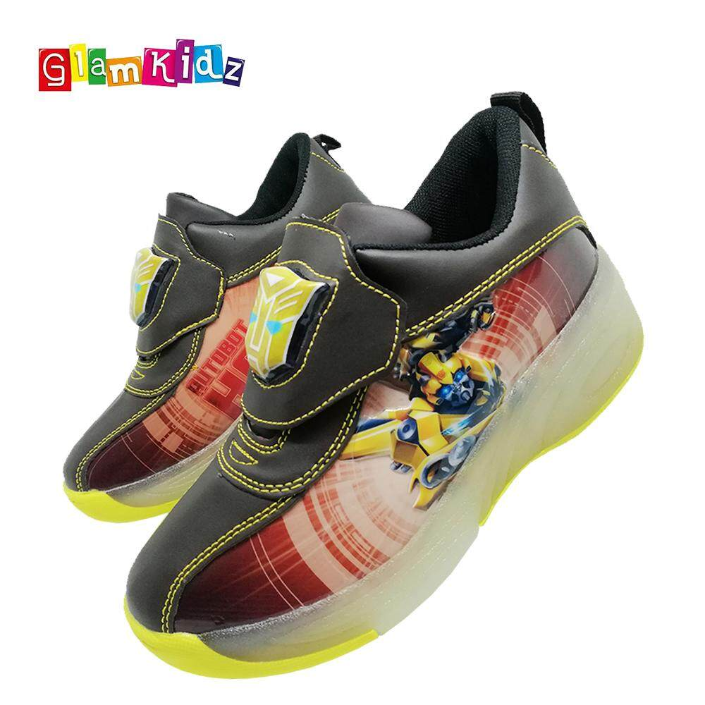GlamKidz Transformers Bumblebee Boys Roller Skate Sports Shoes With Retractable Roller & LED #7267