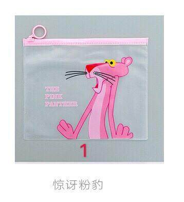 Pink Panther Unicorn Student Case Pencil File Storage Bag
