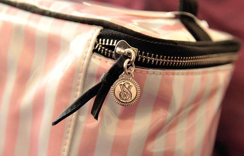 Victoria's Secret Medium Makeup Stripe Organiser Bag