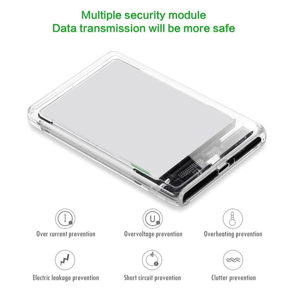 [anything4you]Di Động 2.5 Inch Trong Suốt Cứng Ốp Lưng USB 3.1 Gen 2 Type-C To SATA HDD SSD Di Động Kèm hộp