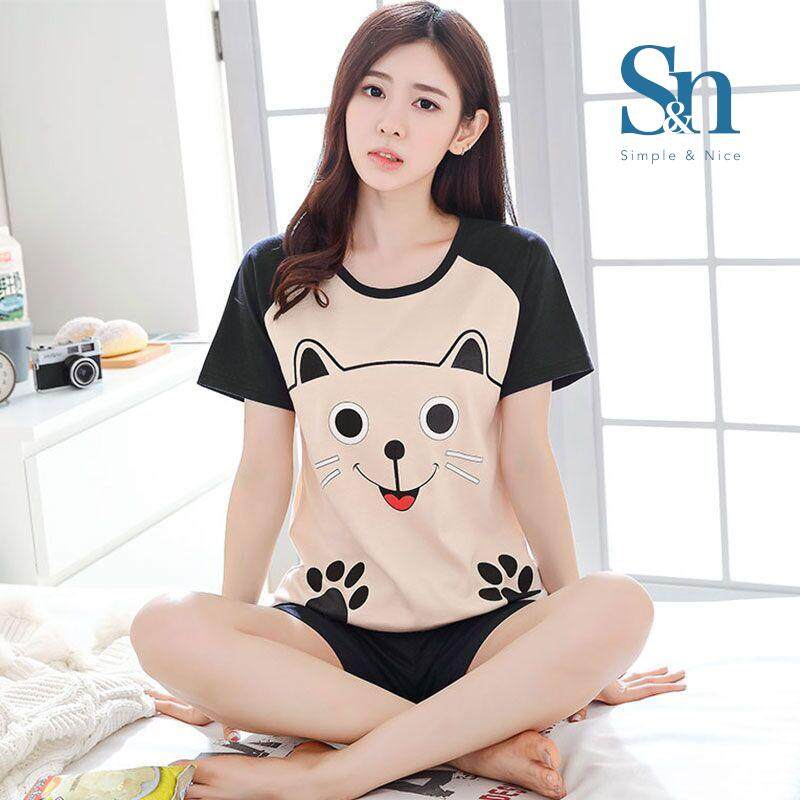 【SIMPLE & NICE】Fashion Women Cute Cartoon Design Short Sleeve & Pants Set (Multiple Design - Size: M-XXL)