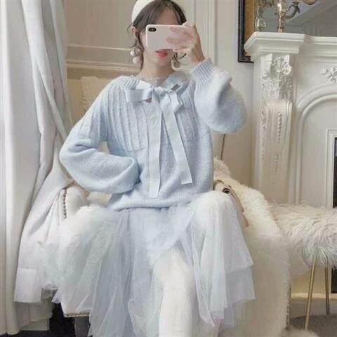Hình ảnh PELECE 2019 Thu Đông Mới Ren Sinh Viên Hàn Quốc Phiên Bản Lỏng Lẻo Phong Cách Lười Biếng Áo Len Nữ Dệt Kim Đáy Áo