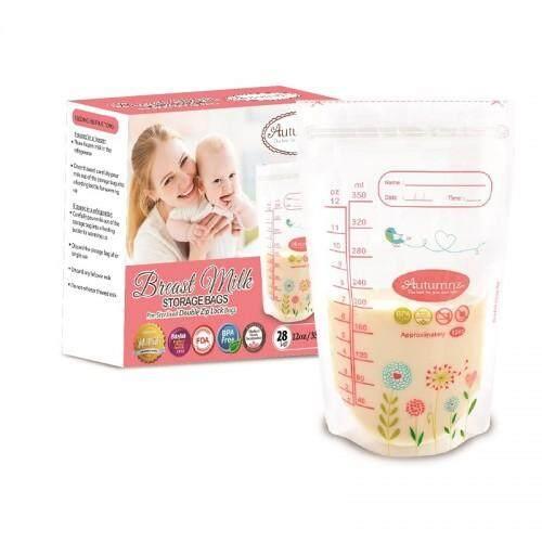 Autumnz Double ZipLock Breastmilk Storage Bag 12oz x 3 boxes (28 bags per box)