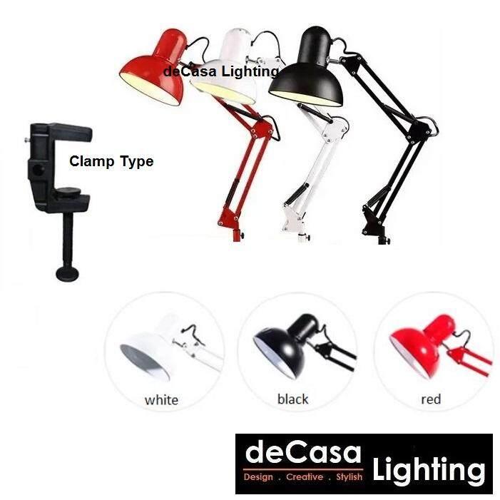 Desk Lamp Study Light DECASA Modern Table Lamp Black Red White Silver Clamp Type Lighting (BHL-810-CLIP)