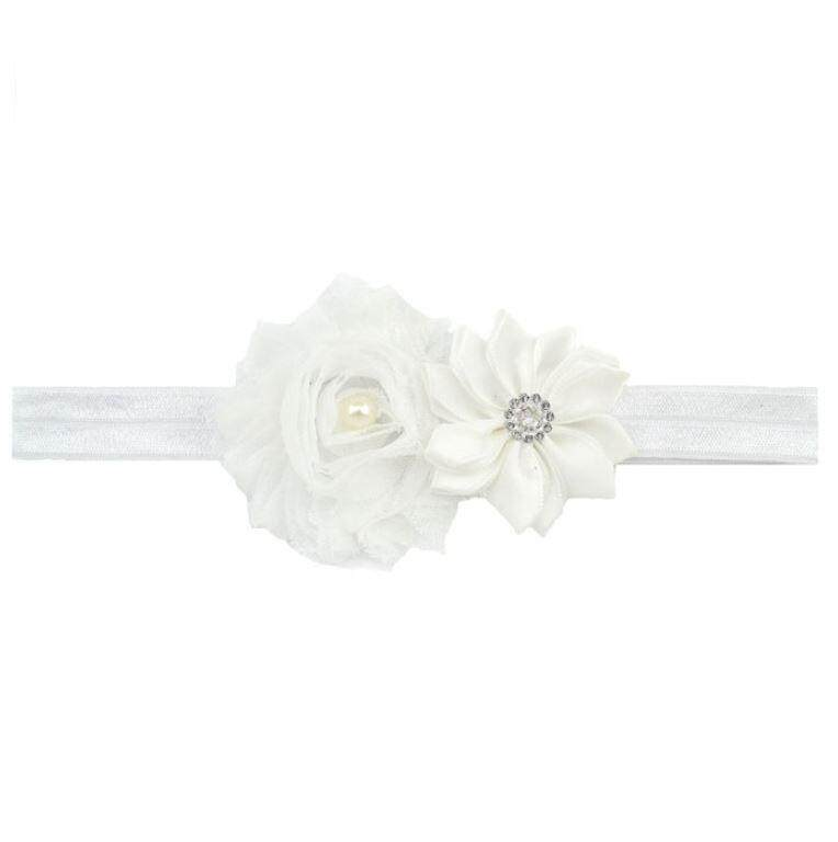 Infant Baby Girl Pearl Flower Elastic Hairband