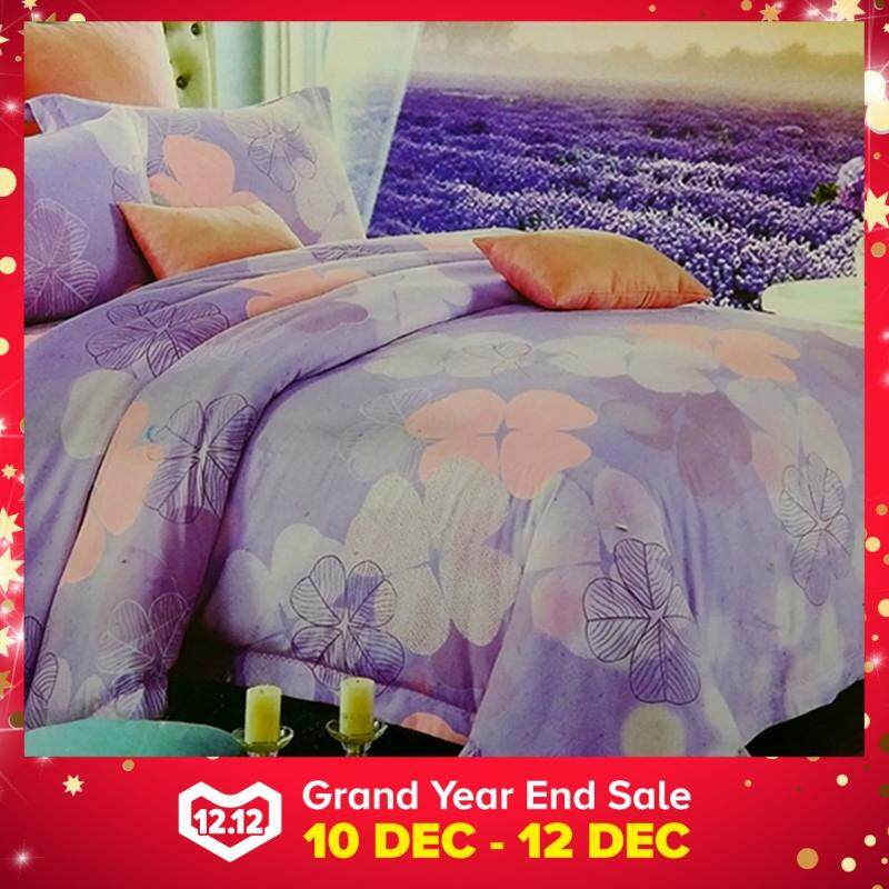 Maylee High Quality Cotton 2pcs Single Fitted Bedding Set 450TC Purple Leaf