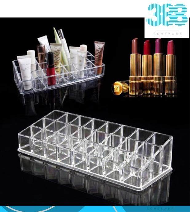 24 Grid Transparent Acrylic Lipstick Shelf Holder Make Up Display Organizer Case