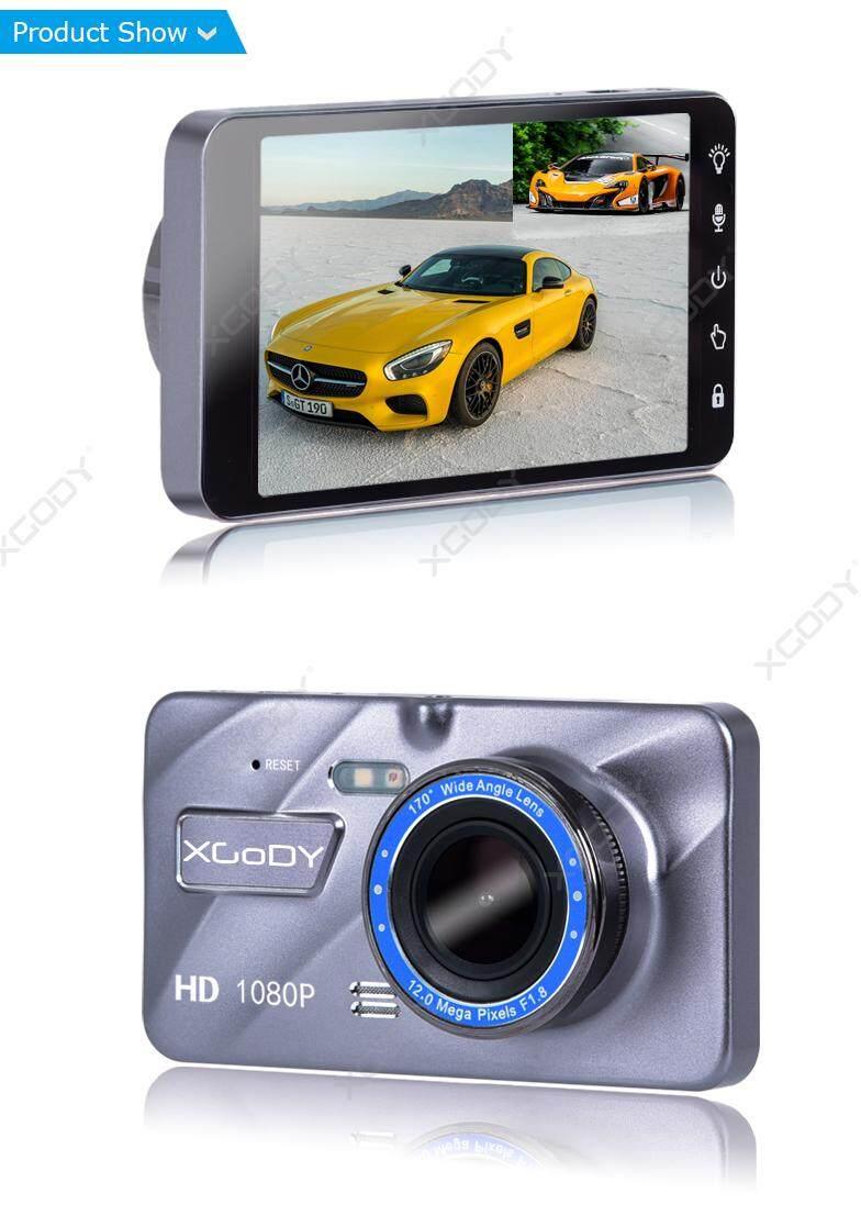 "XGODY 4/"" Touch Screen Car DVR Rearview Camera Dash Cam Dual Lens Night Vision SD"