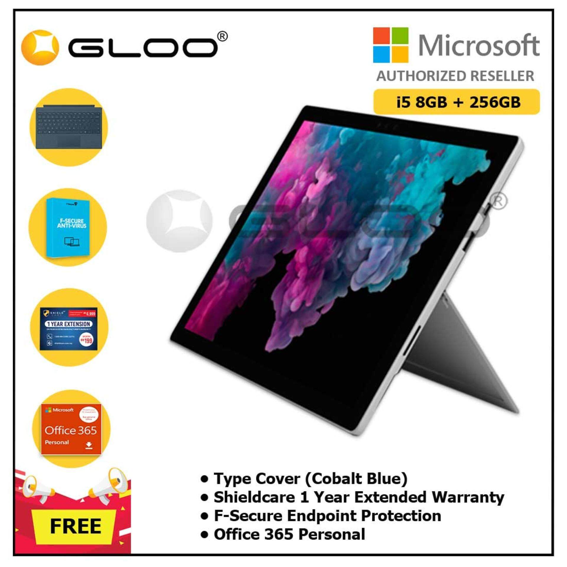 NEW Microsoft Surface Pro 6 Core i5/8GB RAM - 256GB + Type Cover Cobalt Blue + Shieldcare 1 Year Extended Warranty + F-Secure Endpoint Protection + Office 365 Personal