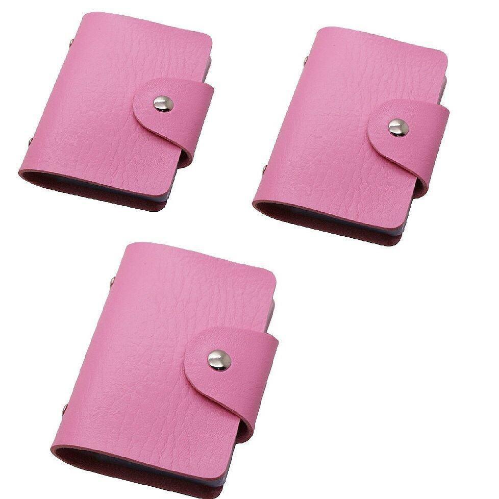 Slim PU Leather 24 Slots Card Holder Wallet Bag 3 units