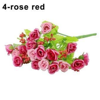 1 Buket 21 Berwarna-warni Kepala Usahatani Fake Rose Warna: Mawar Merah