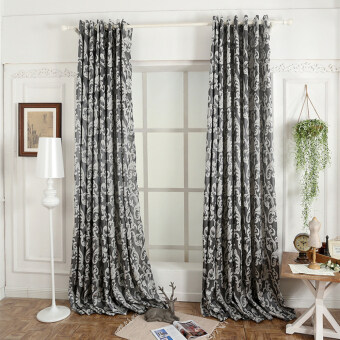 Harga 1 pcs 100x270 Window European style semi-blackout 3D for livingroom curtain kitchen grey
