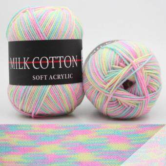 Harga 1 pcs 50g Soft Milk Cotton Knitted Yarn for Knitting Crochet CraftPink Grey Blue Yellow White Grey Orange Purple
