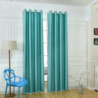 Harga 1 pcs Solid blackout for living room full shade window treatmentsmodern bedroom short kitchen curtain home decor blue
