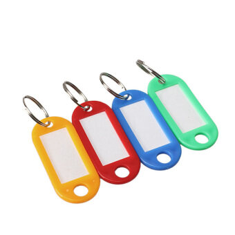Harga 100 Pcs Plastic Key Tags ID Label Keyring with Key Chain Tag CardSplit Ring