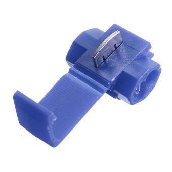 100pcs Quick Splice Connectors Lock Wire Terminals Crimp Electrical Electric - Blue