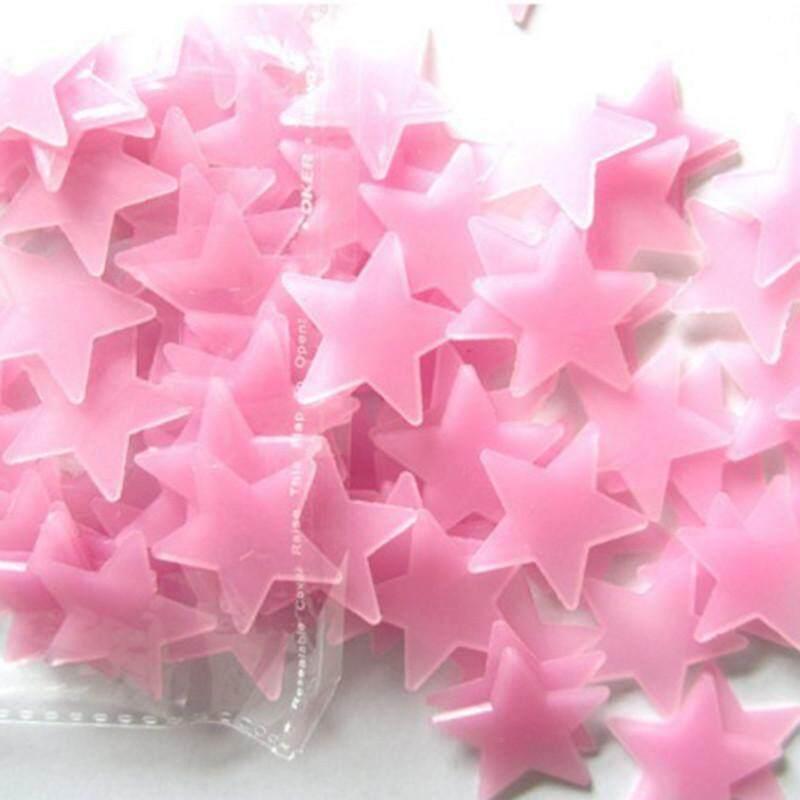 100 Pcs Dinding Stiker Cahaya Dalam The Gelap Nursery Room Warna Bintang Bercahaya Fluorescent Dinding Stiker