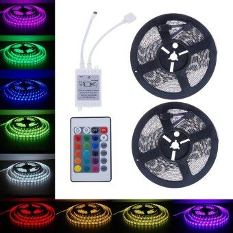10M 5050 SMD RGB 2X5M 600LEDs LED Light Strip 24 Key IR Remote Controller