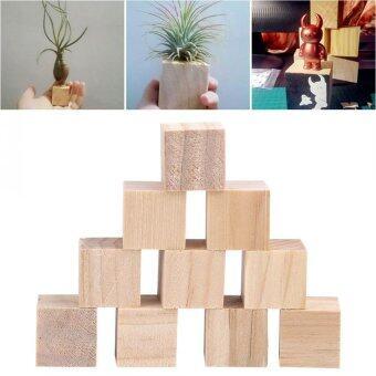 Fitur 10pcs Natural Square Wooden Blocks Cubes For Diy Crafts