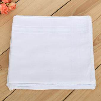 12x Mens White Pocket Cotton Handkerchiefs Hankie Hanky Sweat Face Towel 34x34cm
