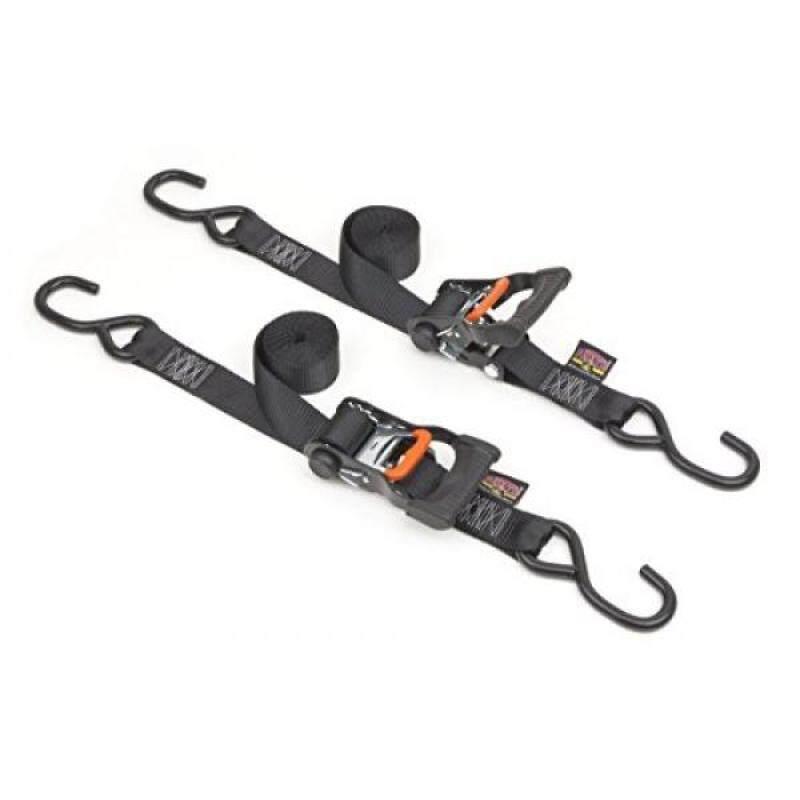 "Buy 1½"" x 7ft PowerTye® Mfg Made in USA Ergonomic Locking Ratchet Tie-Downs with Heavy-Duty S-Hooks, Black (pair) Malaysia"