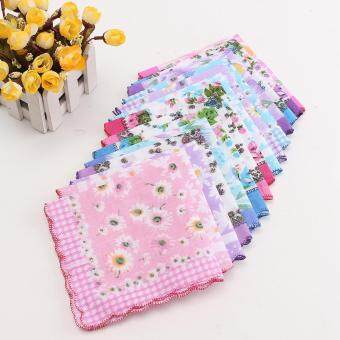 15Pcs Vintage Style Floral Flower Bird Handkerchief Lady Women Kids Cotton Hanky