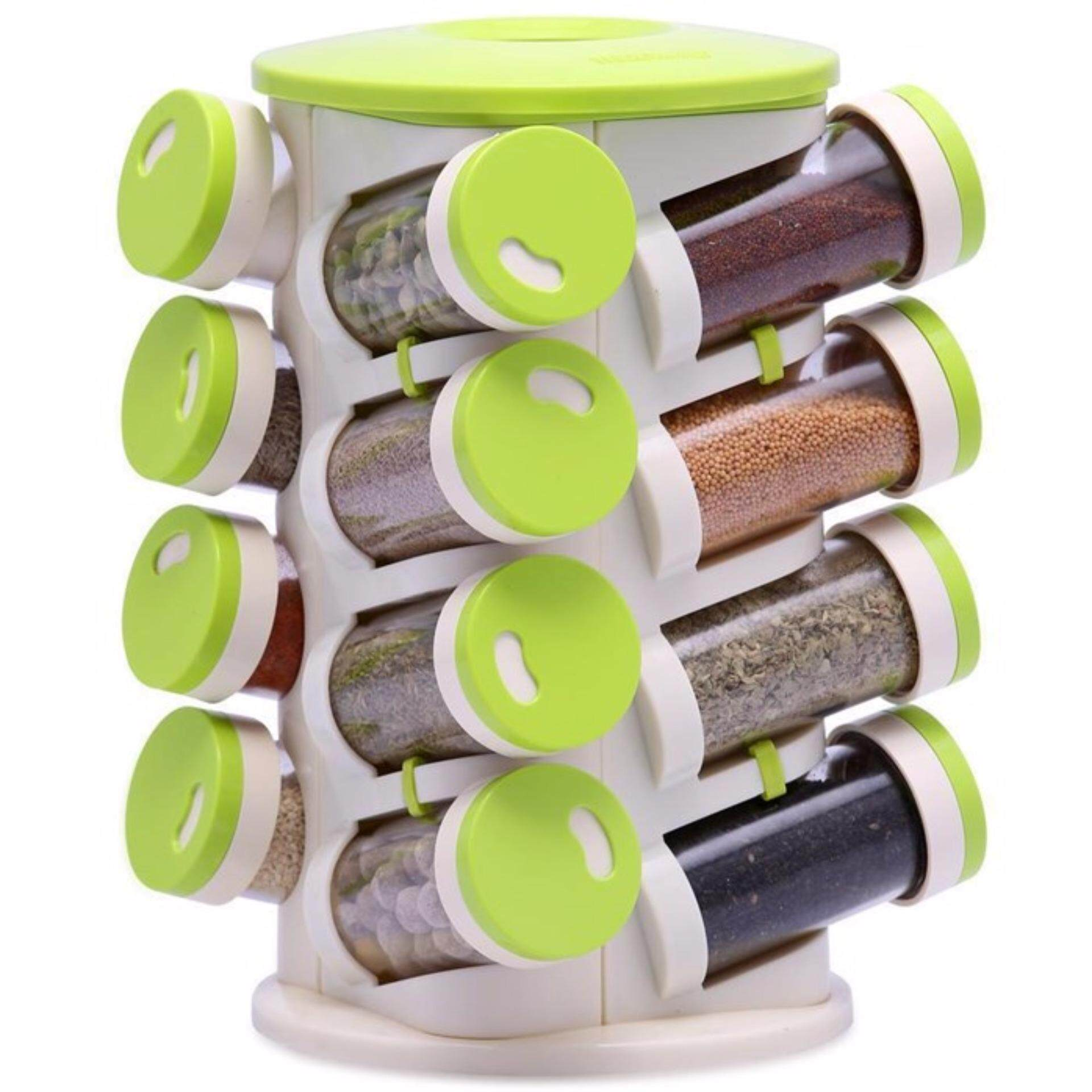 16 IN 1 Spiral Spice Rack With Cutlery Holder Storage Box Salt Spices Jar Case Condiment Bottles Pots Acrylic Kitchen Tools