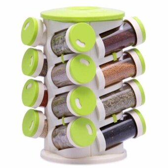 LIKE BUG: 16 PCS SPICES TOWER STORAGE - WHITE/GREEN