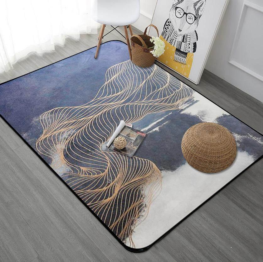 160x230cm Nordic Golden Lines Floor Mat Carpet Non Slip Computer Chair Mats Baby Crawling Rug Bedroom Soft Bedside Footcloth - intl
