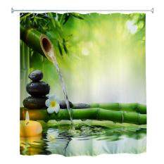 180 X 180cm Zen Water Bamboo 3D Printed Polyester Bathroom Shower Curtain With 12 Hooks