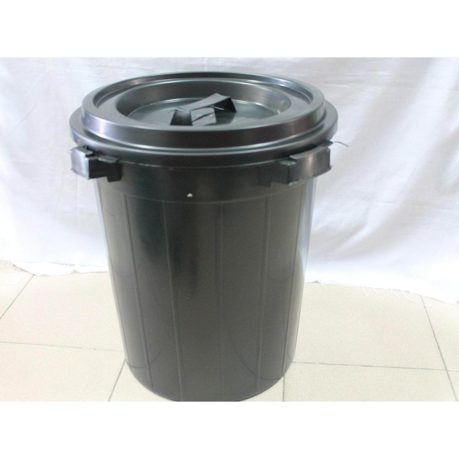 1 piece Indoor/ Outdoor 12 Gallon Black Plastic Dustbin with Lid. Same Day Ship ! (Black)