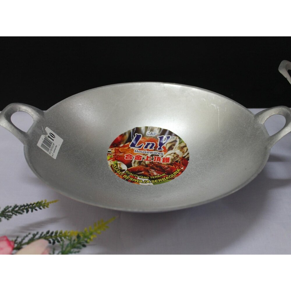 1pc 35cm Steel Frying Wok with 2 Side Handler for 4- 5 person (Grey)