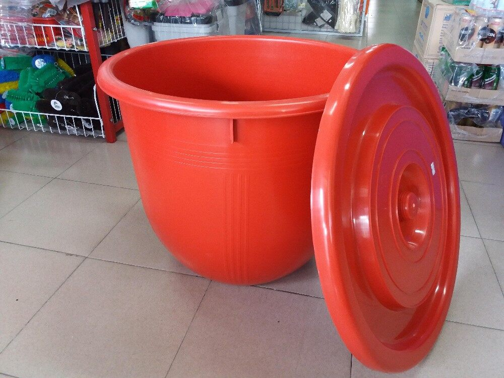 1pc Family Used Chili Red Big Water Pail 45 Liter (Red)