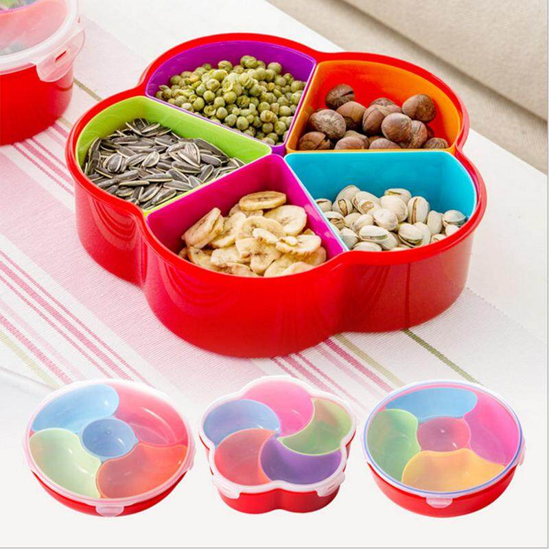 1Pcs 4 Color Optional Fashion Seal Lid Split Candy Box Creative Cute Plastic Multi Grid Dried Fruit Plate - intl