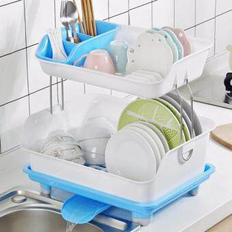 Harga 2 Layer Economized Dish & Utensils Storage Rack - Blue