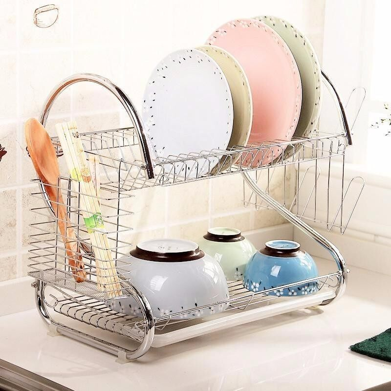 2 Layer Plate Dish Cup Cutlery Drainer Rack (S-Shaped)