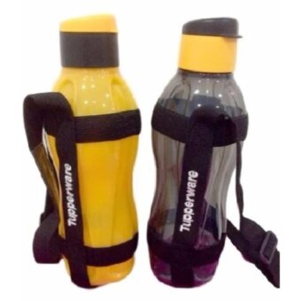 Harga 2 NEW TUPPERWARE ECO BOTTLE BLACK YELLOW FLIP TOP 1L 2 COLOR TONES SET WITH 2 STRAP