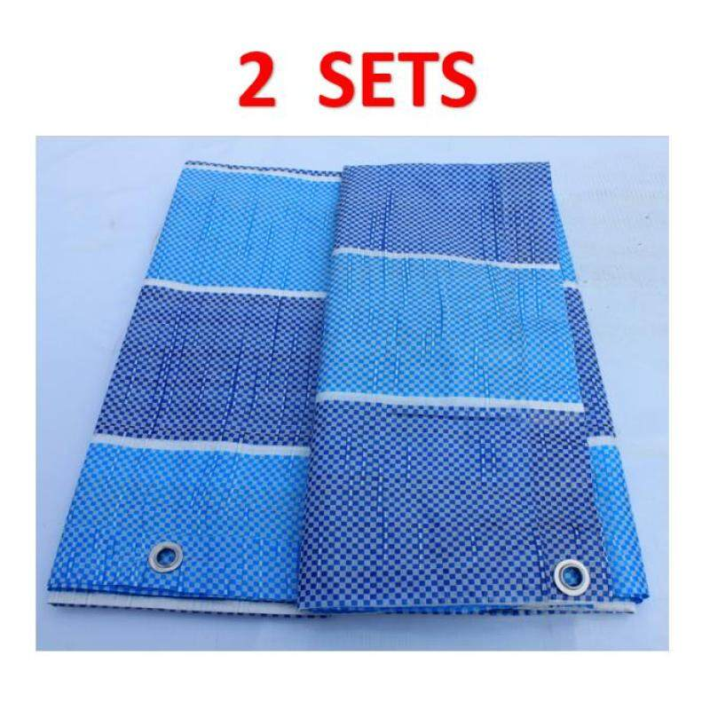 2 Sets Canvas (Korea) 6  x 9  Ready Made PE Tarpaulin Sheet (Blue White) Outdoor Construction Renovation Floor Cover Canopy Tent Side Wall Shield Waterproof UV Protection Camping Hiking Beach with Built-in Ropes & Grommets Eyelets Kanvas Bir