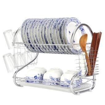 2-Tier Stainless Steel Dish Drying Holder Rack by foci cozi