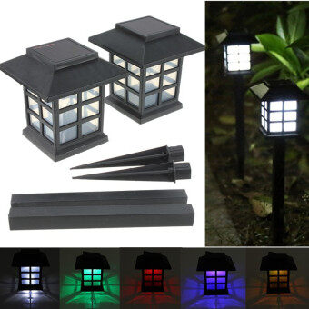 2 x Outdoor Solar Oriental LED Lawn Path Yard Garden Light Landscape Stake Lamp Pure White