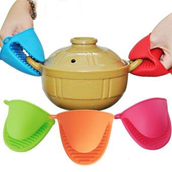 Harga 2016 High Quality Heat Resistant Silicone Gloves Protective HandClip Kitchen Glove (blue)