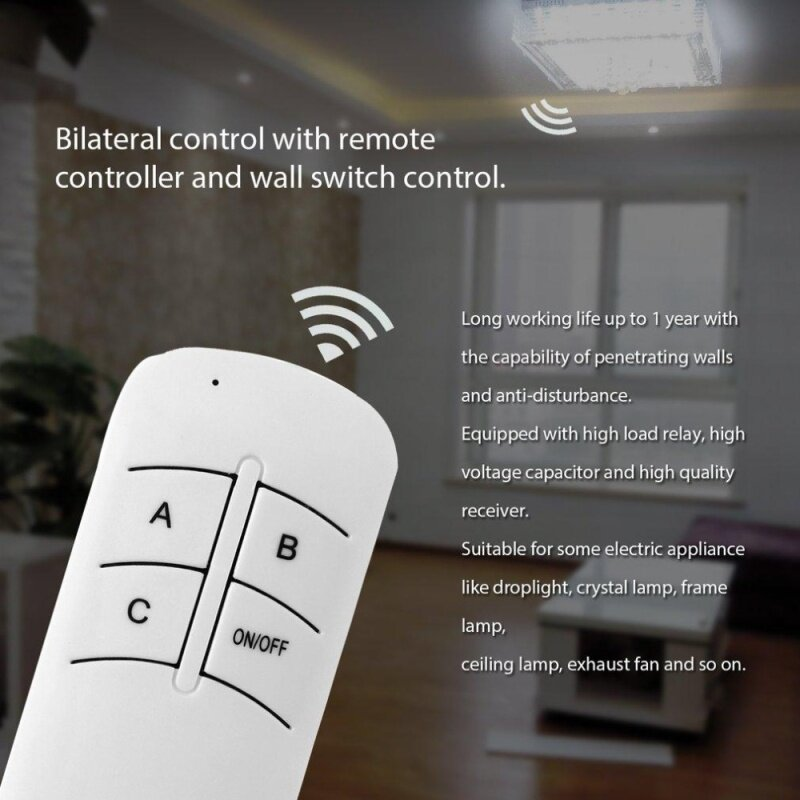 Buy 220V 3 Way ON/OFF Digital RF Remote Control Switch Wireless For Light Lamp Malaysia