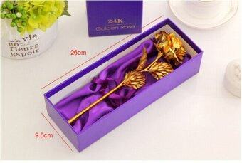 Harga 24K Gold foil Artificial Rose Flowers Gift Decoration (Gold)