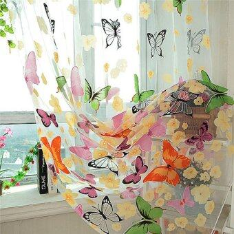 2PCS Floral Butterfly Sheer Curtains Sheers Voile Tulle WindowCurtain (Size: 200x100cm, Color: Multicolor) - 3