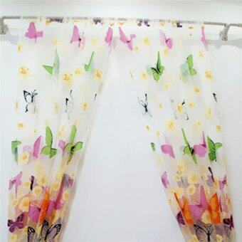2PCS Floral Butterfly Sheer Curtains Sheers Voile Tulle WindowCurtain (Size: 200x100cm, Color: Multicolor) - 5
