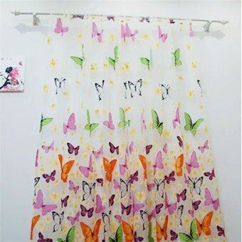 2PCS Floral Butterfly Sheer Curtains Sheers Voile Tulle WindowCurtain (Size: 200x100cm, Color: Multicolor) - 4