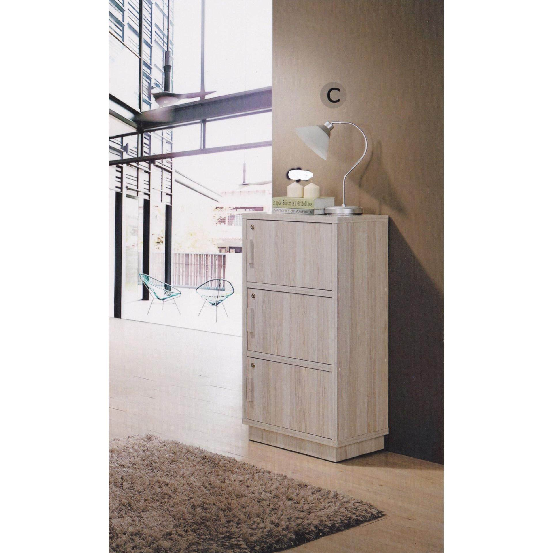 3-Door Solid Storage Box Cabinet Clothes Cabinet Wood (Cream Colour) L590MM X W390MM X H1180MM Pre Order 1 Week