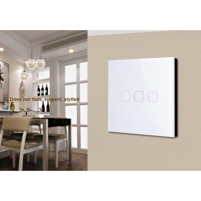 Buy 3 Gang 1 Way Crystal Glass Panel Smart Touch Wall Light Switch EU Standard Malaysia