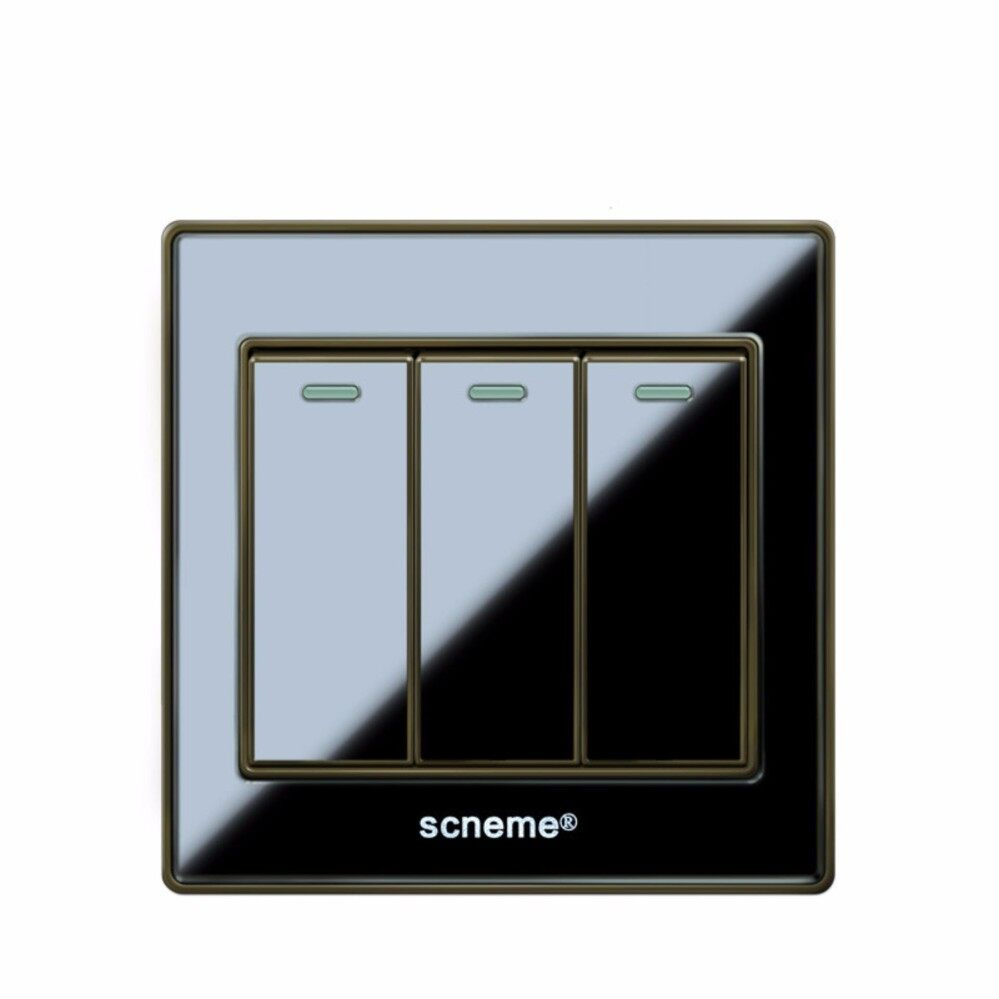 The Price Of 220v Wireless 1 2 3 Way Multifunction Light Digital Switch Black Gang Color Acrylic Panel And 250v Wall Intl