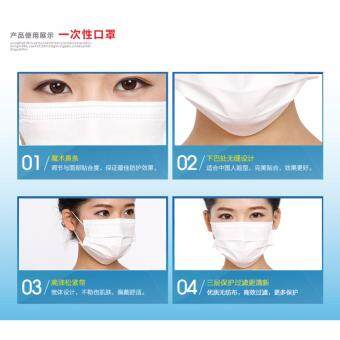 3 Layer Disposable Non Woven Surgical Medical Face Mask Mouth White (50 PCS X 1 Box) - 4